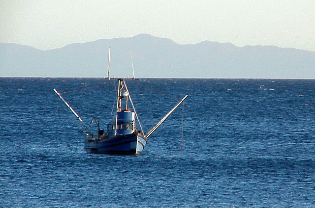Fishing boat off the coast of California