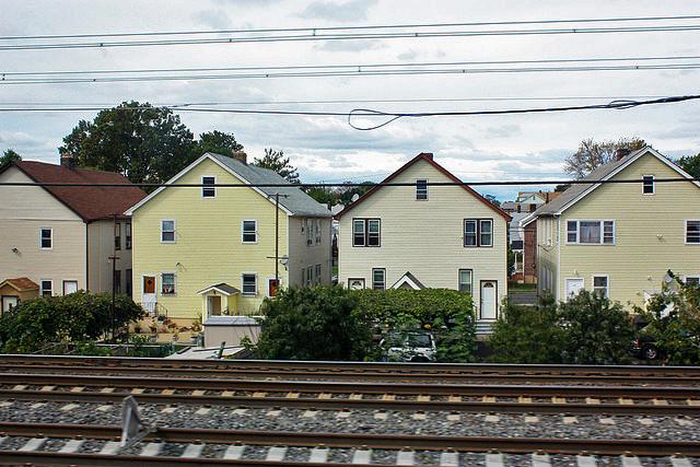 Houses near train tracks