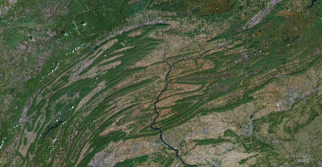 Satellite view of Appalachian Mountains in Pennsylvania