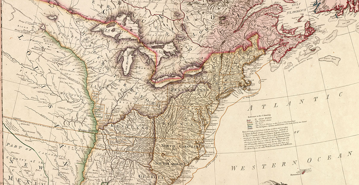The United States of North America: with the British Territories and those of Spain according to the Treaty, of 1784.