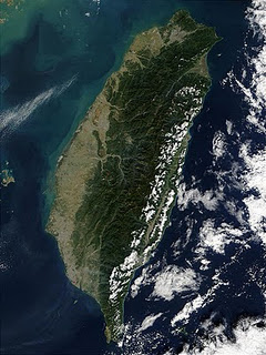 Satellite view of Taiwan