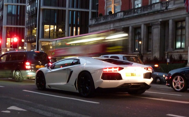 Lamborghini Aventador in traffic