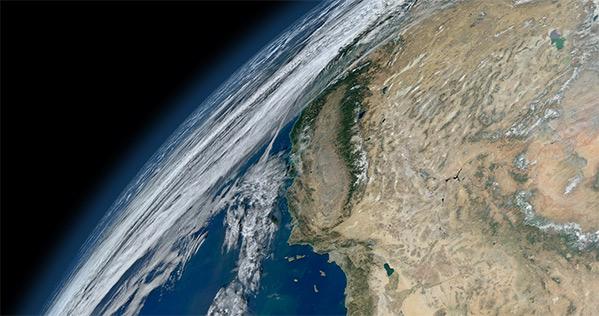 California as seen in Blue Marble, 2012