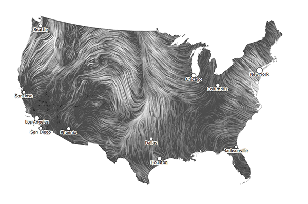 Real-time wind map